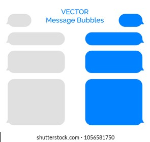 Message bubbles vector icons for chat. Vector imessage bubbles design template for messenger chat