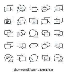 Message and Chat bold line icon set. Dialog and communication linear icons. Speech bubble outline vector sign collection.