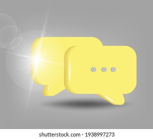 Message chat  icon. Social media chat communication.  3d vector illustration in yellow - gray colors.
