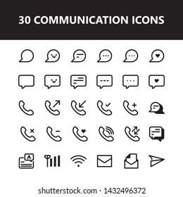 Message communication talk icon set vector isolated