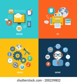 Message, fax, services and support icons in flat design. Set for web and mobile applications of office work