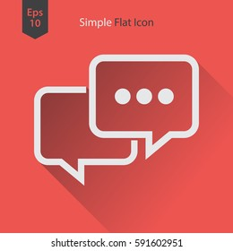 Message Flat Icon. Simple Sign Of Chatting. Vector Illustrated Symbol.