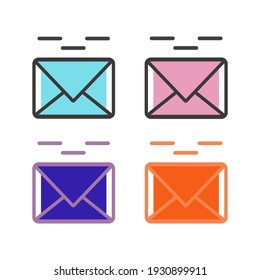 message icon, with 4 color and outline options. also suitable for use as logos and illustrations.
