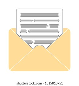 message icon, envelope illustration - vector mail letter icon, send letter isolated. communication icon
