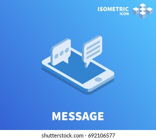 Message icon, illustration, vector symbol in flat isometric 3D style isolated on color background.