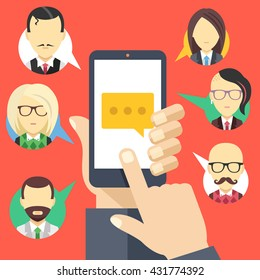 Message icon on smartphone screen and people avatars. Hand hold smartphone, finger touch screen. Chat, social network, instant messaging concepts. Modern flat design. Creative flat vector illustration