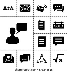 Message icon. set of 13 filled messageicons such as chatting man, paper, love letter, sold tag, chat, mail, communication, message, square root