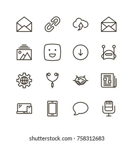 Message icon set. Collection of high quality outline chat pictograms in modern flat style. Mail, emoji, computer, laptop, download, headphones, microphone line logo.