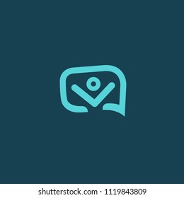 Message icon. Vector logotype design speech bubble and people. Logo concept of chat, media, soft, dialogue script, popup, support center, profile, dating software, communication, contact, network.