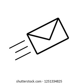 Message Icon Vector Template. Envelope Sign and Symbol Illustration. UI on Line Art Style. EPS 10.