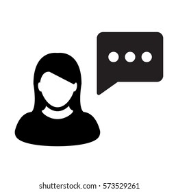 Message Icon Vector Woman Person With Chat Speech Bubble in Glyph Flat Color Pictogram Symbol illustration