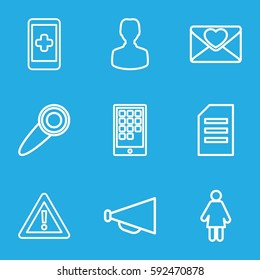 message icons set. Set of 9 message outline icons such as megaphone, warning, love letter, door knob, calendar on phone, paper, user, woman