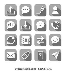 The message, icons, white, vector, grey background. Methods of communication and transmission of information. White vector image on a gray background with shadow.