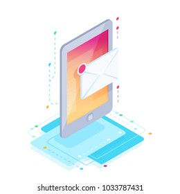 Message. Isometric mobile phone with letter icon. 3d concept of communication in social networks. Vector illustration.