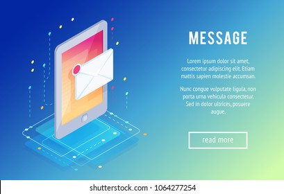 Message. Isometric mobile phone with letter icon. 3d concept of communication in social networks. Trendy isometric background. Vector illustration.