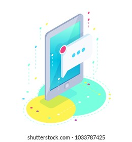 Message. Isometric mobile phone with a new message icon. 3d concept of communication in social networks. Vector illustration.