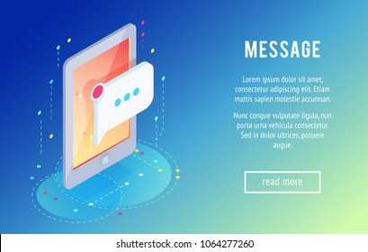 Message. Isometric mobile phone with a new message icon. 3d concept of communication in social networks. Trendy isometric background. Vector illustration.