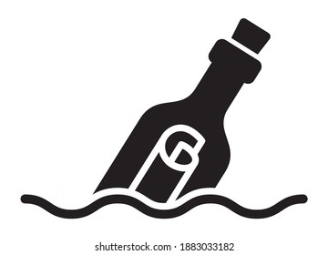 Message or letter in a bottle floating and partially submerged in water flat vector icon for apps and websites