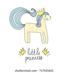 Message little princess with unicorn. Hand drawn sketch. Fashion patch, print.