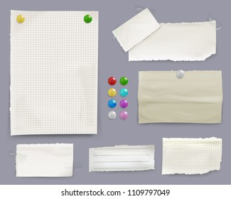 Message notes vector illustration of paper sheets with color pin clips on bulletin board background. Isolated set of memo stickers for office or home reminders and business to-do lists