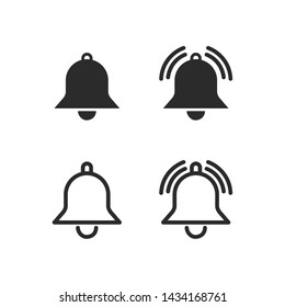Message notification bell icon set template black color editable. notification symbol pack vector sign isolated on white background. Simple logo vector illustration for graphic and web design.