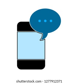 message phone icon - message phone isolated,chat smartphone illustration - Vector speech bubble