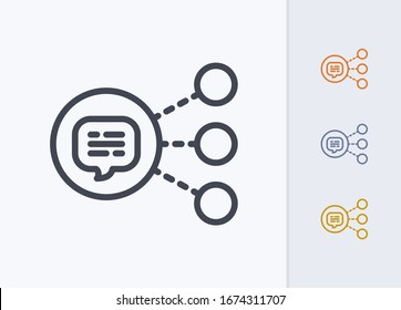 Message Share Button - Pastel Stroke Icons. A professional, pixel-aligned icon.