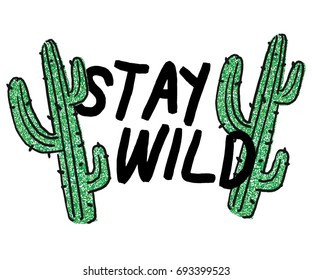message slogan with  cactus