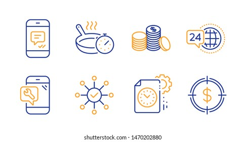 Message, Survey check and Project deadline line icons set. Phone repair, 24h service and Banking money signs. Frying pan, Dollar target symbols. Phone messenger, Correct answer. Vector