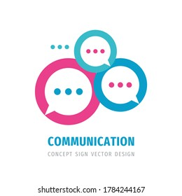Message talking - speech bubbles vector business logo concept illustration in flat style. Dialogue icon. Chat sign. Social media symbol. Communication insignia. Design element.
