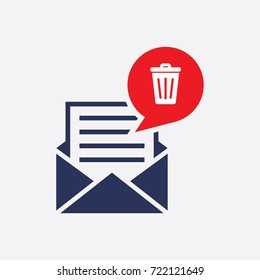 Message Trash Icon. Flat Isolated Symbol Vector Graphic Design Sign