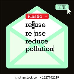 Message typing on computer screen as a gimmick representing 3r words typographic design related to plastic pollution awareness. Vector illustration.