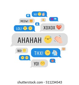 Messages with cute emoji and text circle illustration.