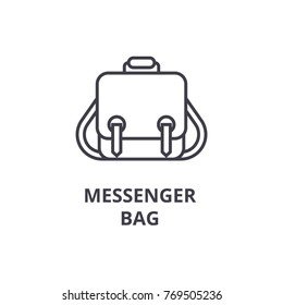 messenger bag line icon, outline sign, linear symbol, vector, flat illustration