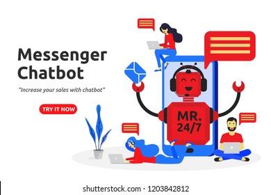 Messenger chatbot concept modern flat design. virtual assistant service. vector illustration