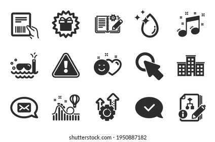 Messenger, Company and Click here icons simple set. Roller coaster, Parcel invoice and Surprise gift signs. Approved message, Engineering documentation and Algorithm symbols. Flat icons set. Vector