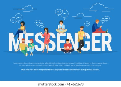 Messenger concept illustration of young people using mobile gadgets such as tablet pc and smartphone for texting messages via mobile messenger. Flat design of students standing near letters
