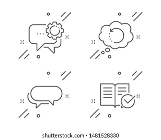 Messenger, Employees messenger and Recovery data line icons set. Approved documentation sign. Speech bubble, Backup info, Instruction book. Education set. Line messenger outline icon. Vector