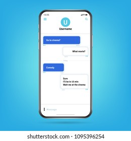Messenger like whatsapp with bubble frames for messages on smartphone screen vector illustration. Phone communication, mobile message