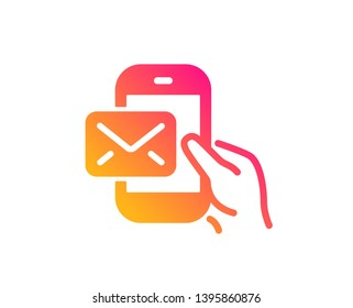 Messenger Mail icon. New newsletter sign. Phone E-mail symbol. Classic flat style. Gradient messenger Mail icon. Vector