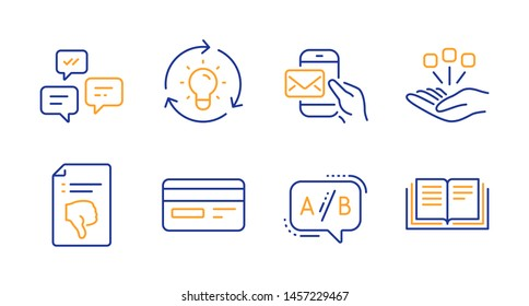 Messenger mail, Idea and Ab testing line icons set. Consolidation, Credit card and Chat messages signs. Thumb down, Education symbols. New e-mail, Lightbulb. Technology set. Vector