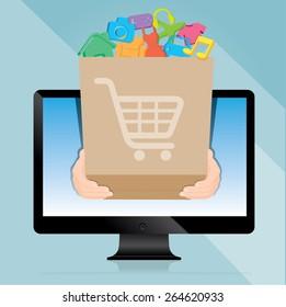 Messenger sent a brown paper bags online shopping, e-commerce concept vector