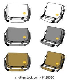 Messenger shoulder bags in 3 colors with positional logo. Vectored EPS.
