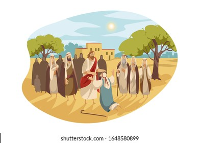 Messiah heals blind man, Bible concept. Jesus Christ makes miraculous healing of blindness. Jesus takes vision to blind man back, by touching him. Bible illustration of son of God in cartoon style.