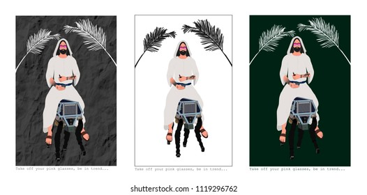 Messiah is riding on donkey-robot, t shirt design, textile design, vector, print for t shirt, illustration