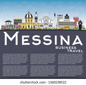 Messina Sicily Italy City Skyline with Color Buildings, Blue Sky and Copy Space. Vector Illustration. Business Travel and Concept with Modern Architecture. Messina Cityscape with Landmarks.