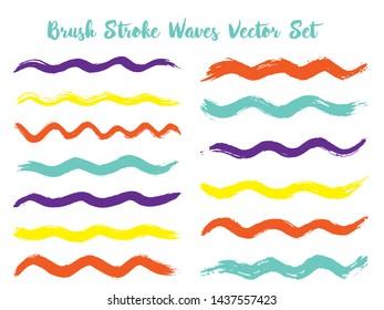 Messy brush stroke waves vector set. Hand drawn red blue violet brushstrokes, ink splashes, watercolor splats, hand painted curls. Vector ink color palette samples. Summer design paint brush curves.