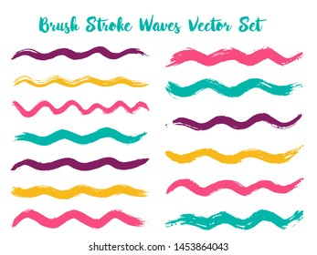 Messy brush stroke waves vector set. Hand drawn pink cyan brushstrokes, ink splashes, watercolor splats, hand painted curls. Interior colors guide book elements. Summer design paint brush curves.