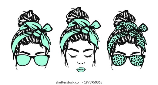 Messy bun, Girl with messy bun and glasses, Leopard bandana, Girl face - Shutterstock ID 1973950865
