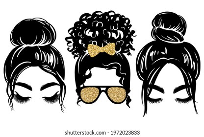 Messy bun with golden glitter hair bow and aviator glasses. Vector woman silhouette. Beautiful girl drawing illustration. Female hairstyle. Long black lashes, closed eyes.